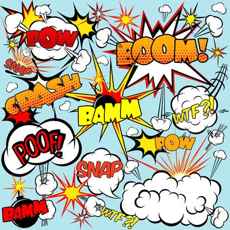 comic background: Comic speech bubbles set with bombs and explosions signs vector illustration Illustration