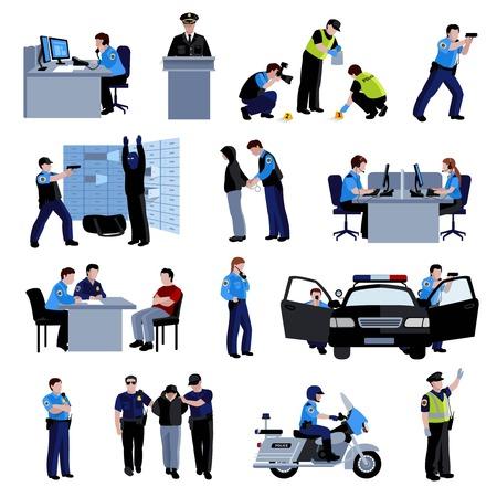 Policjant osoby w biurze, jak i poza z radiowozu i sytuacji zatrzymania sprawcy oraz przesłuchań płaskim koloru ikony ustaw odizolowane ilustracji wektorowych