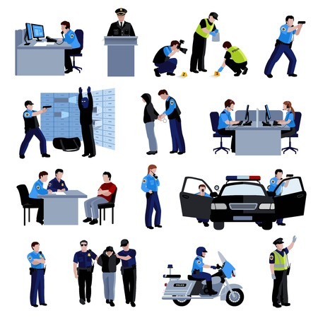 Policeman people at office and outside with police car and situation arrest of offender and interrogation flat color icons set isolated vector illustration Illustration