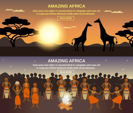 africa continent: African people horizontal banners set with amazing Africa symbols flat isolated vector illustration