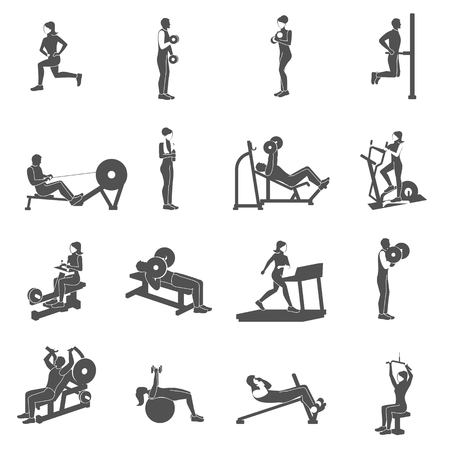 Sportschool workout zwarte mensen silhouetten platte set geïsoleerd vector illustratie