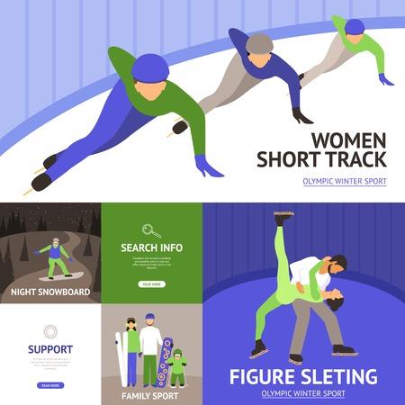 symbol sport: Wintersport-Flach Symbole mit kurzen Strecke Eiskunstlauf Snowboard getrennt Vektor-Illustration festgelegt