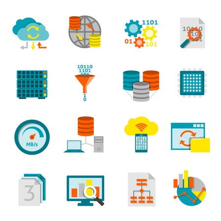 business decisions: Information processing computer software and data analytics for better business decisions flat icons set abstract isolated vector illustration