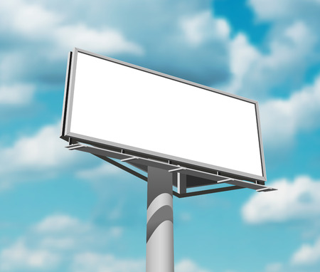 clouded sky: Large and prominently placed high billboard advertisement poster against daytime blue clouded sky backgrund abstract vector illustration Illustration