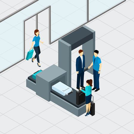Airport security check with isometric people in queue vector illustration Çizim
