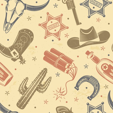 Cowboy seamless pattern with cactus dynamite and hat flat vector illustration