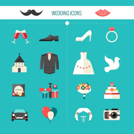 bride bouquet: Color decorative wedding icons witn clothes of bride and groom festive civil accessories and church isolated vector illustration