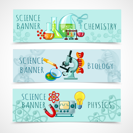 biology: Science horizontal banner set with chemistry biology and physics elements cartoon isolated vector illustration
