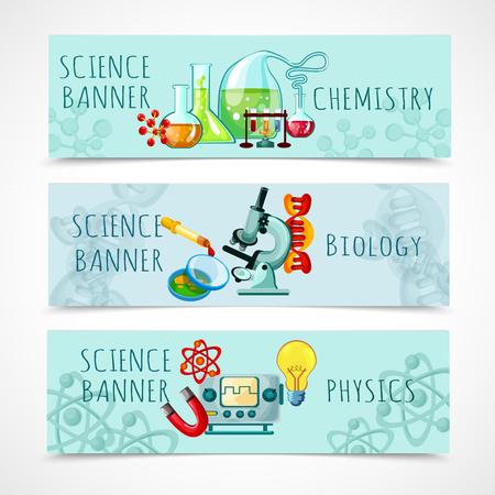 Science horizontale banner set met geïsoleerde chemie biologie en natuurkunde elementen cartoon vector illustratie