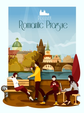 czech women: Romantic Prague poster with loving couple and landmarks on background vector illustration