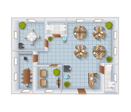 mobiliario de oficina: Interior de la oficina plantilla de vista superior de plano con sala de conferencias y baño de ilustración vectorial