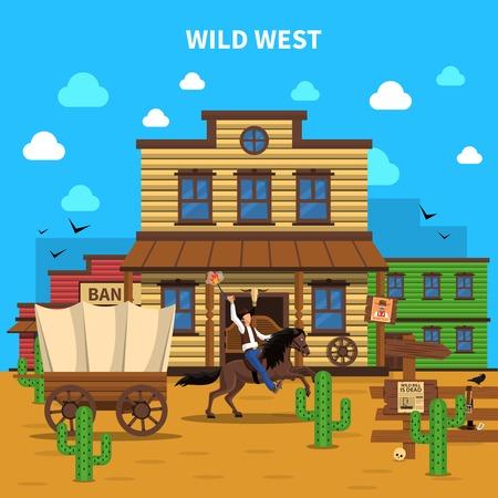 vaquero: Concepto del vaquero con el hombre en la creación de caballo y el salón en el fondo ilustración vectorial
