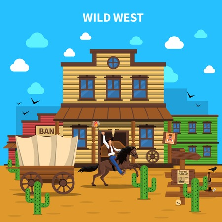 Cowboy concept with man on horse and saloon building on background vector illustration