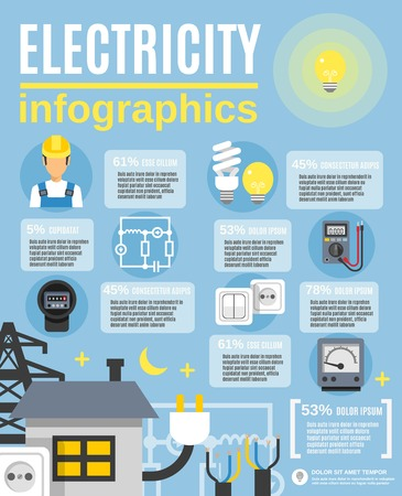 worker person: Electricity infographic set with light and power symbols flat vector illustration