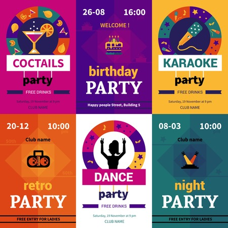 to surprise: Six color decorative party posters showing billboards with name and date of event flat vector illustration