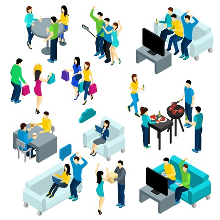 Friends isometric set with people drinking making bbq and watching tv isolated vector illustration Illustration