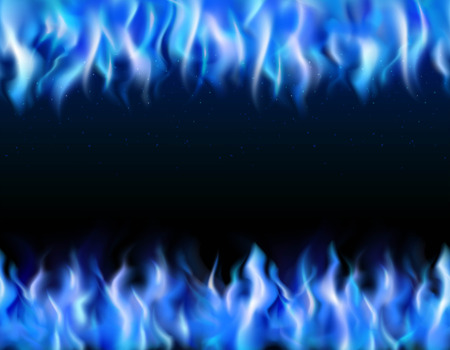 Blue fire tileable realistic borders on black background isolated vector illustration