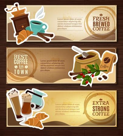 planta de cafe: café de la barra del estilo de la vendimia 3 banners horizontales establecer café recién tablero de anuncio resumen ilustración vectorial aislado