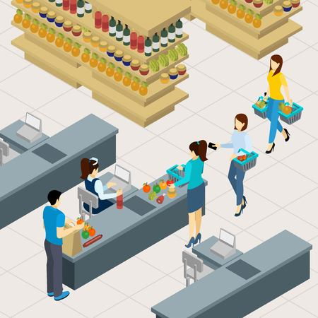shelf: People at the shopping line paying for food and drinks isometric vector illustration