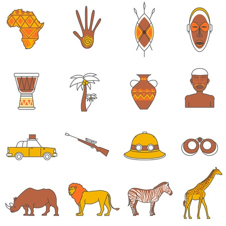 African safari animals flat outline icons set isolated vector illustration