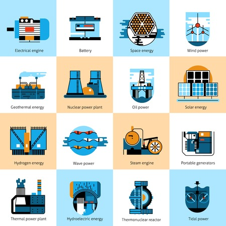 water power plant: Energy production flat line icons set with gasoline and petroleum manufacturing signs isolated vector illustration