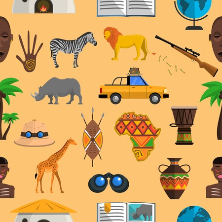 safaris: Africa seamless pattern with hunting equipment and safari animals vector illustration