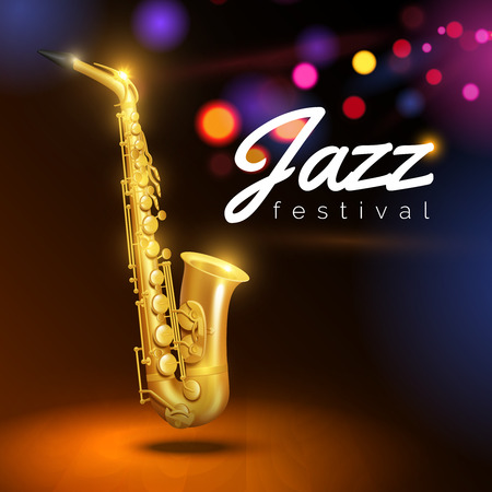 Golden saxophone on black background with colored lights and caption jazz festival vector Illustration
