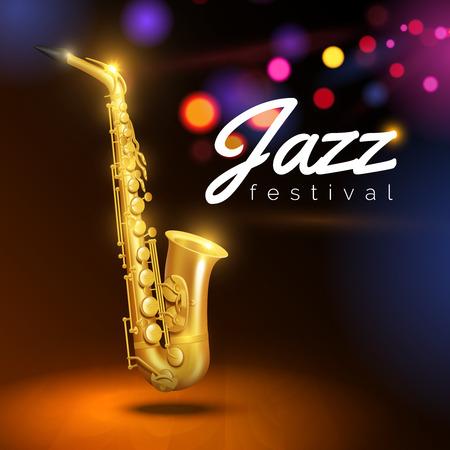 saxophone d'or sur fond noir avec des lumières colorées et de la légende du jazz vecteur festival Illustration Vecteurs