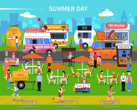 dog days: Fondo del día de verano con los carros de comida en la calle y la ilustración vectorial plana parque