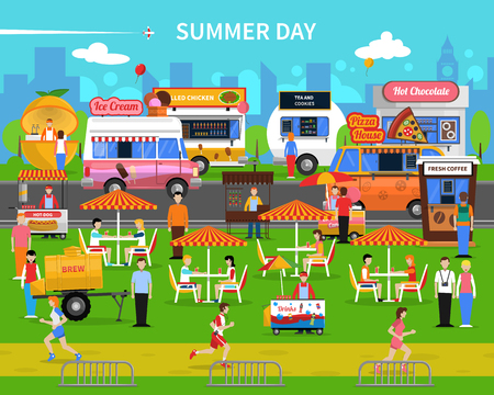 Summer day background with street food carts and park flat vector illustration Illustration