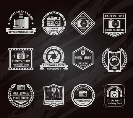 vintage photo: Photo industry chalkboard emblems set with old and modern digital equipment symbols flat isolated vector illustration Illustration