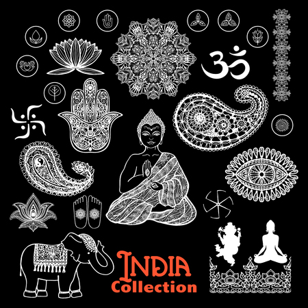 buddha: India design elements chalkboard  set  with woman in lotus position elephant  paisley and ornament  vector illustration Illustration