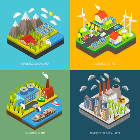 business environment: Environment pollution and protection with wind turbines solar panels electricity vehicle renewable energy and eco technologies vector illustration