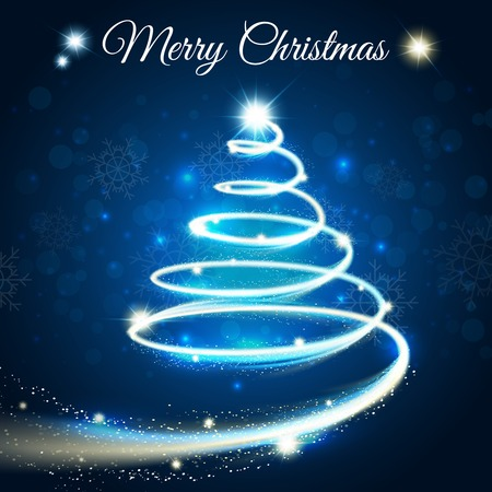 darck: Merry christmas card with outline tree drawn by light blue strip on darck blue background vector illustration