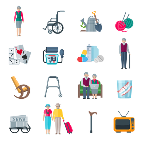 Pensioners lifestyle flat color icons set with knitting tv walkers tonometer wheelchair slippers newspaper isolated vector illustration