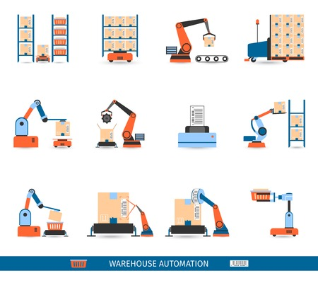 unloading: Warehouse robots for loading and unloading icons set flat isolated vector illustration