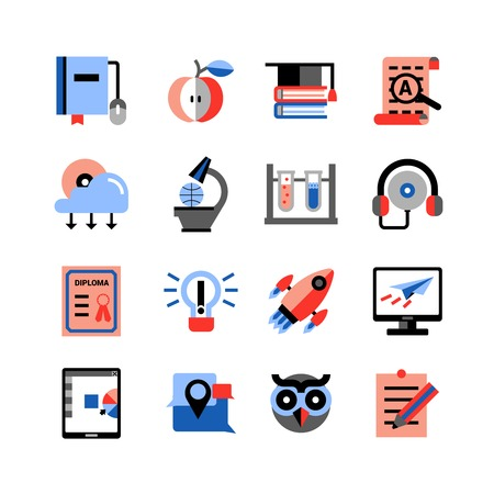 studying computer: Flat color online education icons set with touch pad computer studying icons and  graduation items isolated vector illustration