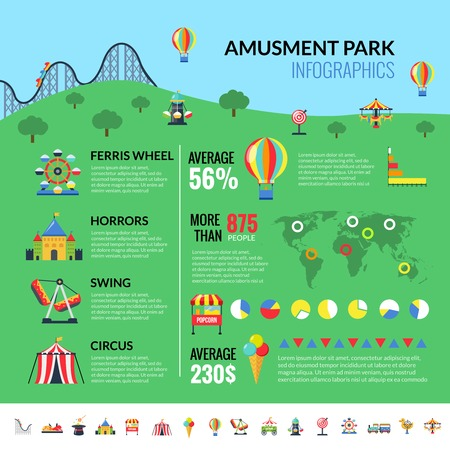Amusement park industry infographic report with attractions visitors and profit statistics and pictograms set flat vector illustration