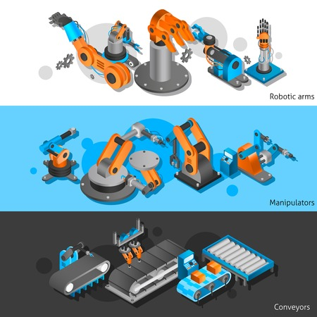 Industrial robot horizontal banner set with isometric manipulators and robotic arms isolated vector illustration Иллюстрация