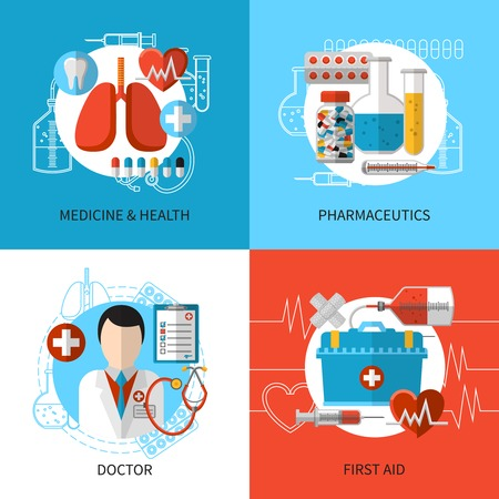 exercising: Health and medical care design concept set with first aid tools vector illustration
