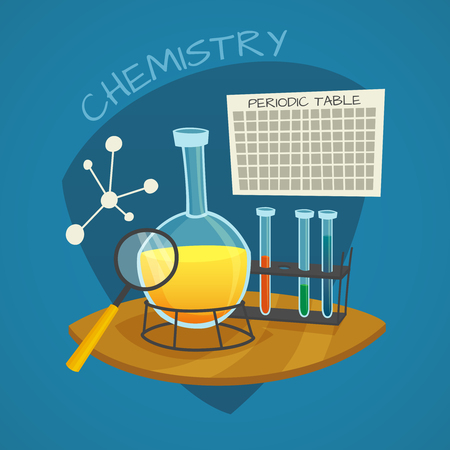 Chemical laboratory cartoon icons set with flask  glass tubes and  periodic table vector illustration Illustration