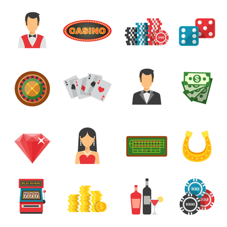 croupier: Casino icons set with cards money and luck symbols flat isolated vector illustration