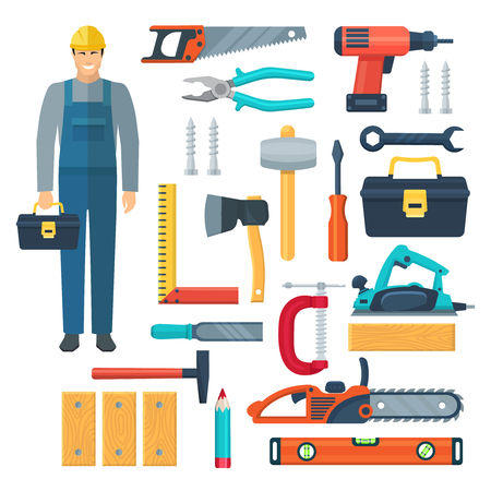 woodworker: Flat color icons set with  woodworker in overalls toolbox and tools for sawing and carpentry isolated vector illustration Illustration