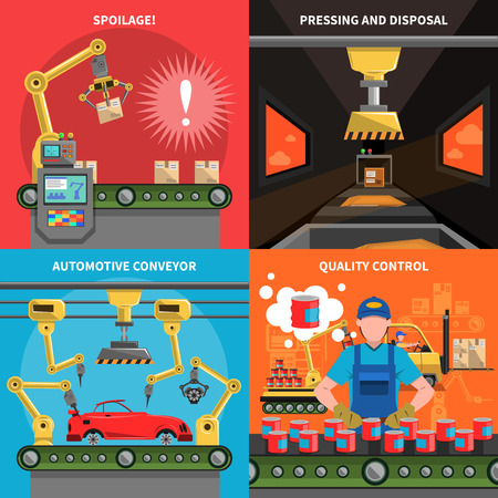spoilage: Conveyor icons set with spoilage pressing and quality control symbols flat isolated vector illustration Illustration