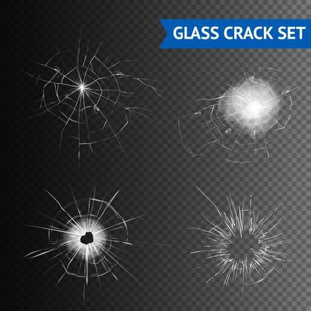 シームレスな背景グラフィックの分離ベクトル図にガラス割れの種類のセット