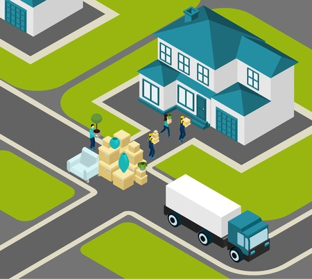 relocating: People relocating isometric concept with delivery workers truck and house vector illustration