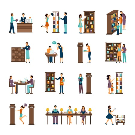 blank newspaper: Flat icons set of different scenes of people activities in library isolated vector illustration Illustration