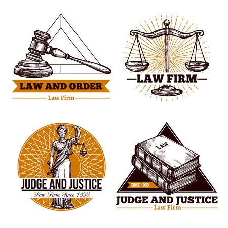 justice: Set of legal  concept of office and  firm  in vintage style vector illustration