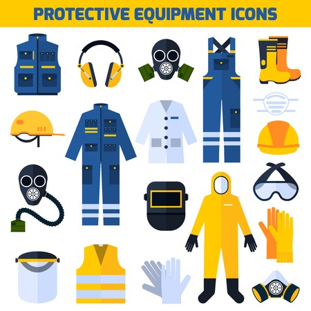 construction workers: Protective uniform respiratory equipment flat icons collection for medical professionals and construction workers abstract isolated vector illustration Illustration