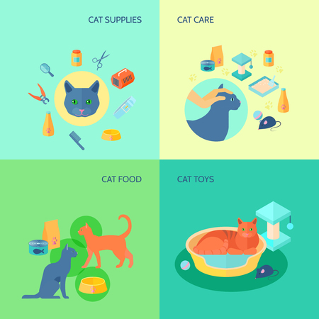 toy toilet bowl: Cat care food and toys supplies 4 flat icons square composition pets banner abstract isolated vector illustration Illustration